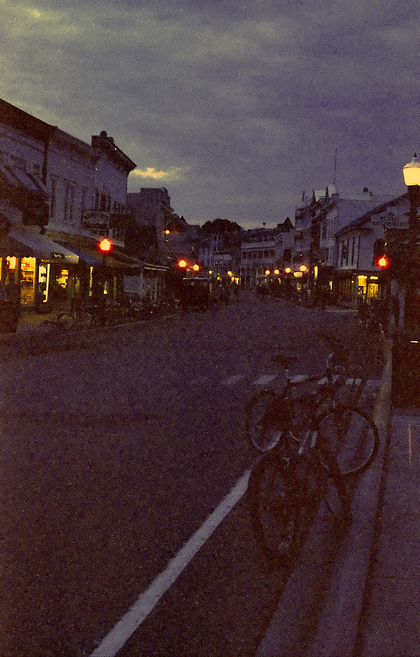 Downtown Mackinac Island at night