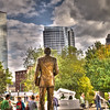 "A Bronze casting of President Gerald Ford looks at ""His"" city and marvels at how it has changed..."