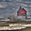 Fall in Michigan    Grand Haven, HDR, lake michigan, lighthouse, waves, wind 2