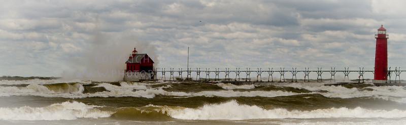 Fall in Michigan    Grand Haven, lake michigan, lighthouse, waves, wind 8465
