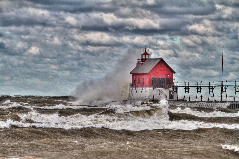 Fall in Michigan    Grand Haven, HDR, lake michigan, lighthouse, waves, wind_-2
