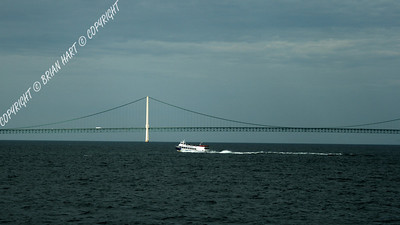 IMG_7689 Ferry passing in front of the Mackinac Bridge, as viewed from another Ferry