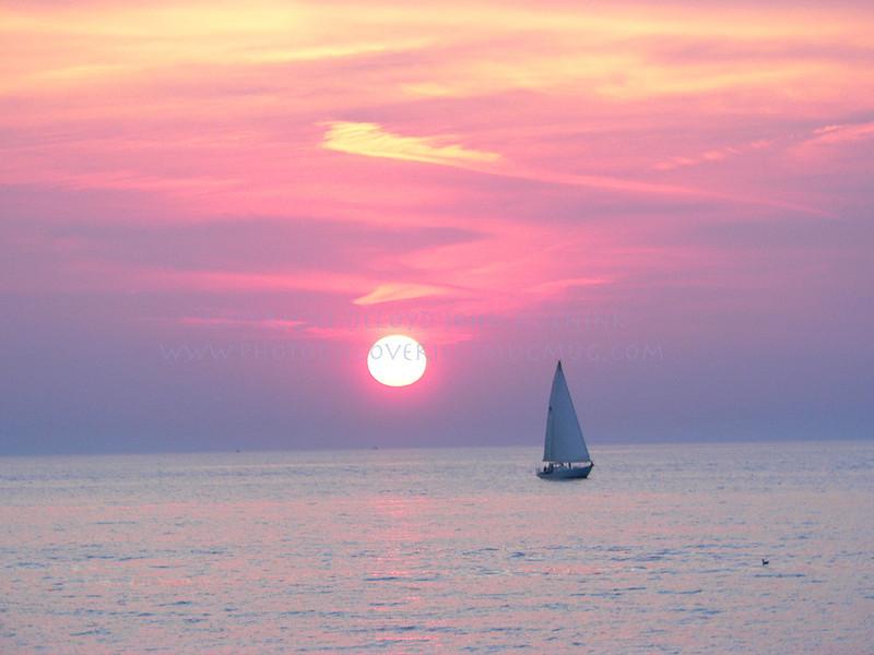 Sunset on Lake Michigan near Oval Beach