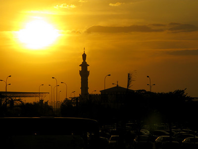 A minaret at sunset in Cairo, Egypt.
