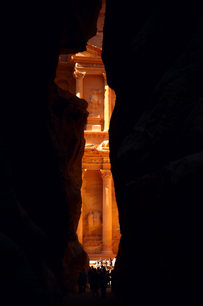 Petra's most elaborate ruin, Al Khazneh, viewed from inside the Siq.