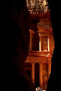 Petra's most elaborate ruin, Al Khazneh, viewed from inside the Siq.