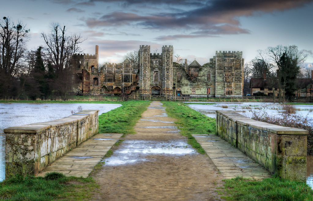 The River Rother floods the ruins of the Tudor Cowdray House, Midhurst, England, December 2012