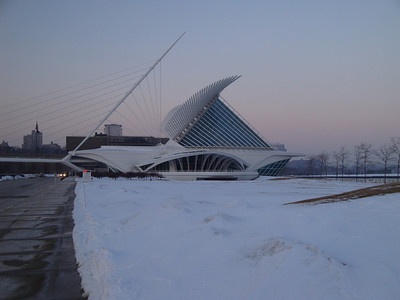 Milwaukee Art Museum. Pushing her way through the ice and snow!