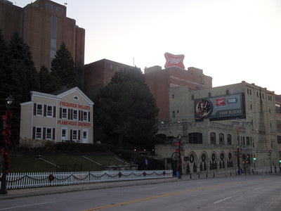 Miller Brewery. Original brewery building (left), current visitor's center (right) and a few of the brewing and bottling buildings (back).