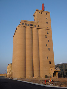 Modern but now unused hops silos for Pabst Brewery.