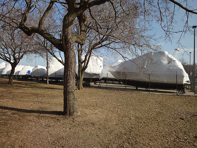 Boats covered for the winter.