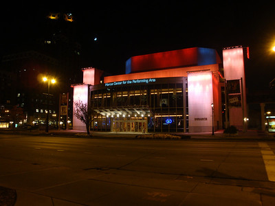Performing Arts Center at night. The building changes colors every 15 minutes.