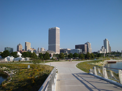 View of downtown by the lakefront from my daily bike ride.