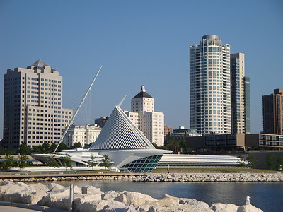 View of downtown from my daily bike ride. The Milwaukee Art Museum is in the forefront, designed by the Spanish architect Santiago Calatrava.