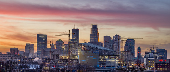 Minneapolis Skyline, New Minneapolis Stadium. New Minnesota Vikings Stadium
