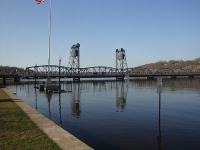 Lift bridge, flooded riverside