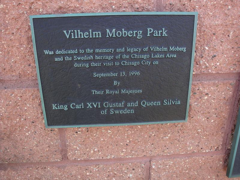 Moberg Park plaque