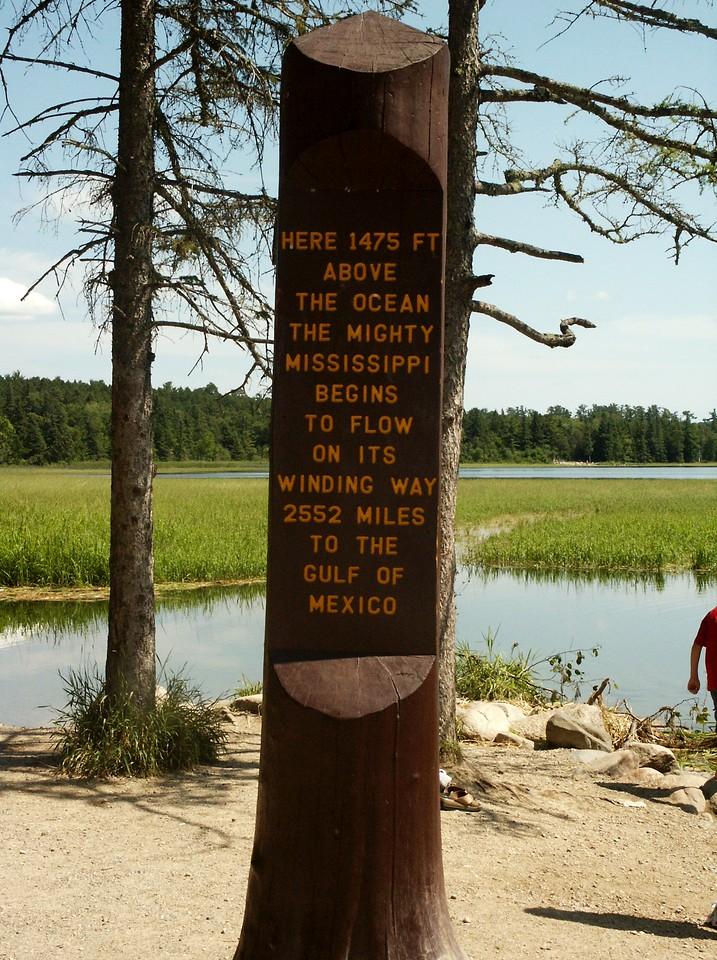 Mississippi River head marker, near Lake Itasca, MN.