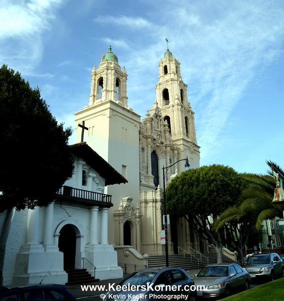 Mission San Francisco de Asís (L) with the Basilica (R)
