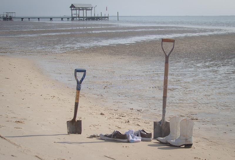 shoes and shovels...Wonder where the clams are?