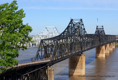 The old Mississippi River Bridge (right) is now listed on the National Register of Historic Places. The I-20 bridge (left) is much newer. - March 2012