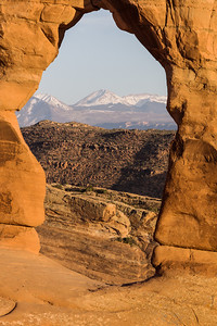 La Sal Mountains Framed by Delicate Arch