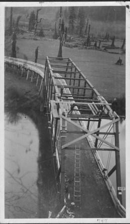 The Mohler bridge over the Nehalem River was a key link from the Oregon coast highway to Wheeler. The route of the highway at the time was today's Highway 53 and Miami/Foley Road.