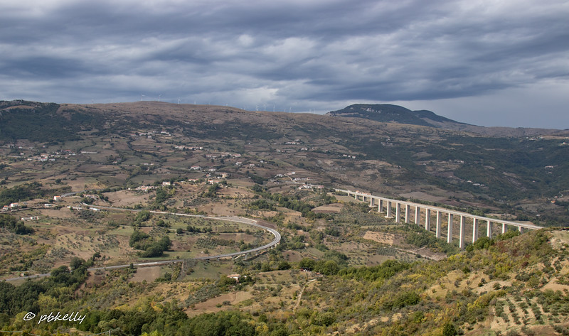 View from the Town of Agnone where we stayed.  Without the heavily engineered system of roads and tunnels, this is not an easy place to get to.