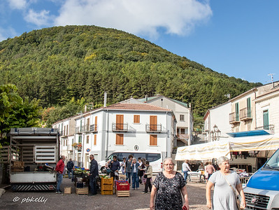 Two views of the local street market in the town.