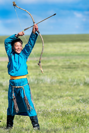 Young Mongolan Archer in Blue - About to Shoot - Copyright 2018 Steve Leimberg UnSeenImages Com _DSF6949