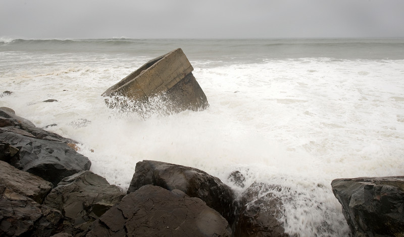 Montauk Point redoubt during Hurricane Earl
