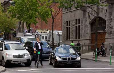 During rush hour in Montreal, you're just as likely to see cars as you are to see commuters on bicycles.