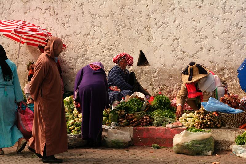 Berber street-side vendors in Tangier, Morocco.