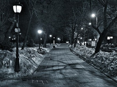 Night, lights, street and invisible hipster