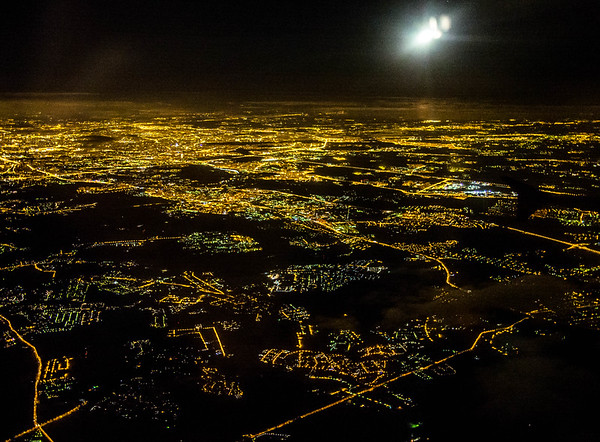 Night Moscow from a plane