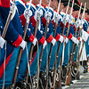 The Grenadiers of Fribourg, Switzerland visit Red Square, Moscow. The 'Friskers' were founded in 1804 after the French Revolution to protect Swiss neutrality. Photo by: Stephen Hindley