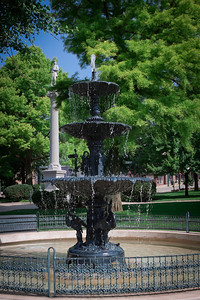 Cooper water fountain and Civil War monument on the Public Square in Mount Vernon, Ohio.
