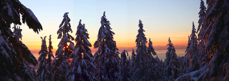 Sunset on Seymour  A sunset panorama looking west from Mt. Seymour.