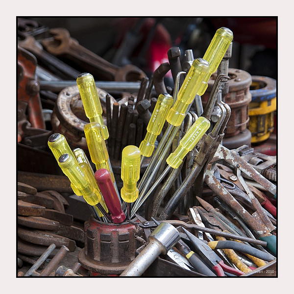 Fix it!<br /> At a shop selling all types of tools, this set of screwdrivers stood out.