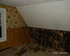 Day #2<br /> The master bedroom after taking the paneling down and starting to remove the vinyl wood wallpaper