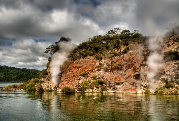 Geysers on Lake Rotomahana