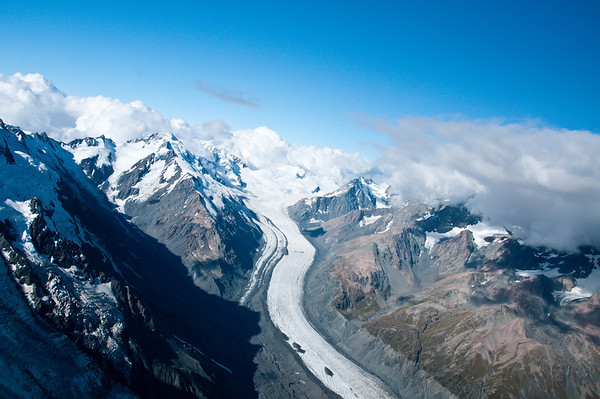 view of glacier from helicopter