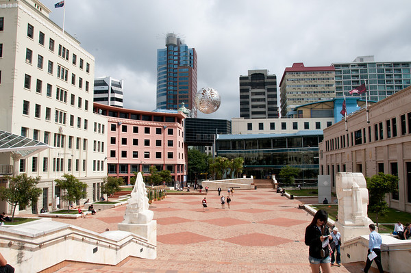 downtown Wellington, suspended sculpture
