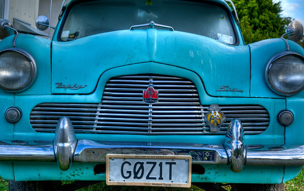Ford Zephyr, made in the UK between 1050-1972 as a powerful 6 cylinder alternative. Phtographed in Fox Glacier, NZ