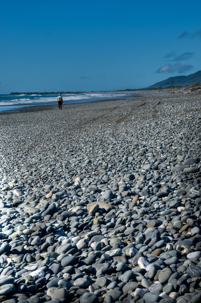pebble beach at Greymouth, NZ