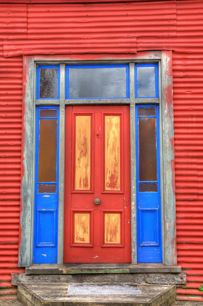 Colorful door in Reefton, New Zealand