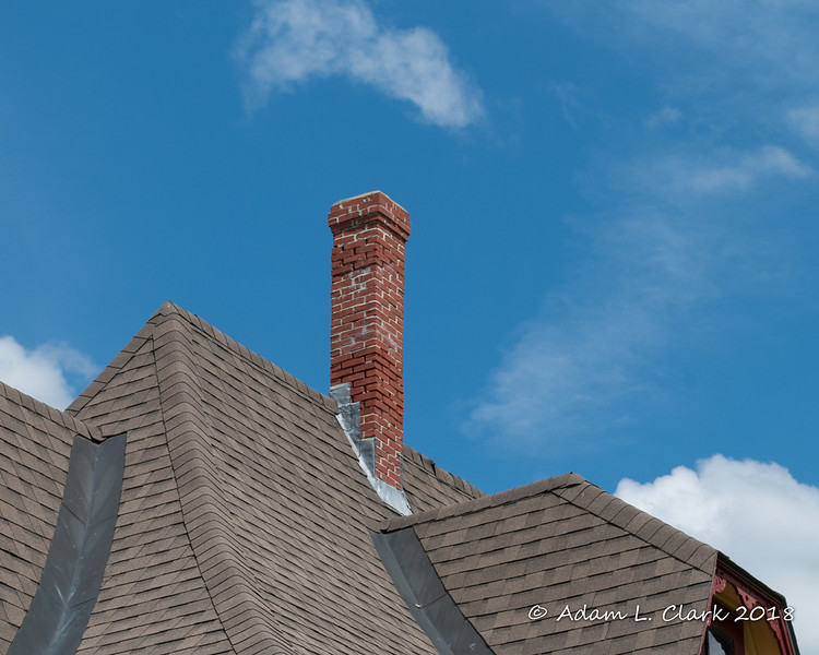 The roof and chimney of the depot