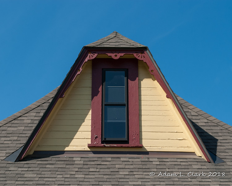 One of the roof dormers with some extra detail work around it