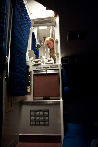 Marisa enjoying our viewliner roomette on Amtrak.