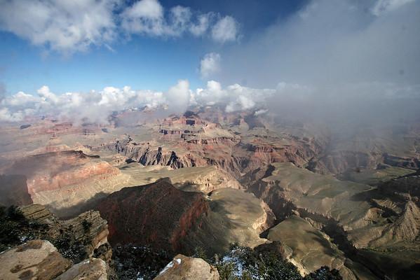 Misty morning from Yavapai Point; Grand Canyon, AZ